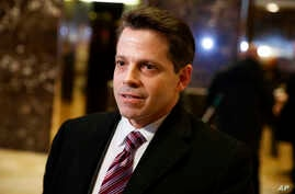 FILE - Anthony Scaramucci, then senior adviser to President-elect Donald Trump, talks to reporters in the lobby of Trump Tower in New York, Jan. 13, 2017.