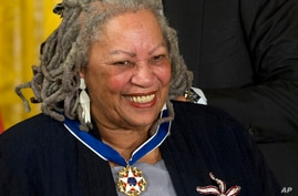 FILE - U.S. Nobel literature laureate Toni Morrison, seen in this May 29, 2012 file photo, received Distinguished Service Awards at the Authors Guild's 25th annual gala in New York City on Wednesday, May 24, 2017.