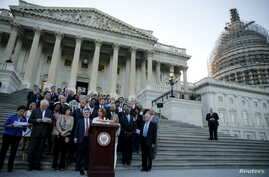 U.S. House Minority Leader Nancy Pelosi (D-CA)  and collegues participate in a rally in support of the nuclear deal with Iran on the East Front steps of the US Capitol in Washington, ahead of the House vote, Sept. 8, 2015.