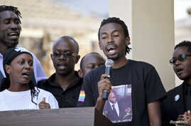 Members of Uganda's gay community lead a choir during a memorial service for David Kato, one of the country's most visible gay campaigners, on his first death anniversary in Kampala, January 26, 2012.