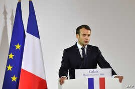 """French President Emmanuel Macron gives a speech in the northern port of Calais on Jan. 16, 2018, vowing that France will not allow another migrant camp like the infamous """"Jungle"""" to spring up in the city."""