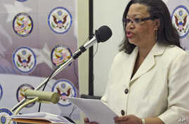 United States Deputy Assistant Secretary of State for Africa Affairs, Susan Page addresses a press conference in Harare, March, 4, 2011