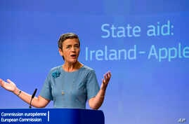 European Union Competition Commissioner Margrethe Vestager speaks during a media conference at EU headquarters in Brussels on Aug. 30, 2016.