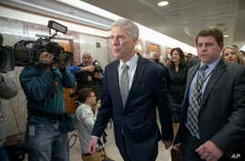 """Supreme Court nominee Neil Gorsuch arrives for a meeting with Sen. Susan Collins, R-Maine, on Capitol Hill in Washington, Feb. 9, 2017. Gorsuch has said he found President Donald Trump's attacks on the judiciary """"disheartening"""" and """"demoralizing."""""""