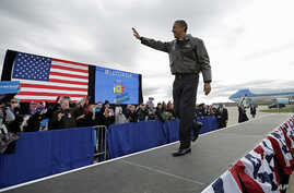 President Barack Obama at a campaign event at Austin Straubel International Airport in Green Bay, Wisonsin, Nov. 1, 2012.