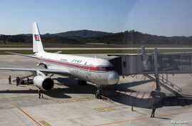 FILE - An Air Koryo passenger jet bound for Beijing prepares for takeoff. North Korea national airline is facing more repercussions from the sanctions imposed by the United Nations last January.