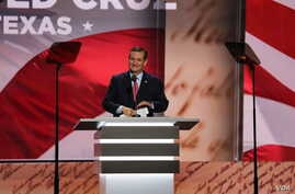 Texas Senator Ted Cruz delivers a speech at the Republican National Convention in Cleveland, Ohio, July 20, 2016. (Photo? Ali Shaker / VOA)