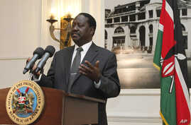 Kenyan Prime Minister Raila Odinga addresses the foreign journalists in Nairobi, Kenya,June 12, 2012.