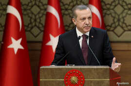 Turkish President Tayyip Erdogan makes a speech during his meeting with mukhtars at the Presidential Palace in Ankara, Turkey, Dec. 1, 2016. On Sunday, Dec. 4, 2016, Erdogan asked Turkish patriots to change their dollars or euros  into liras or gold