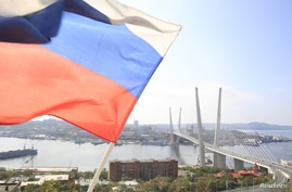 A Russian national flag flutters in front of a new bridge over the Golden Horn bay in the Russian far-eastern city of Vladivostok September 10, 2012.