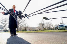 President Donald Trump speaks to reporters before boarding Marine One on the South Lawn of the White House in Washington, Tuesday, March 13, 2018, to travel to Andrews Air Force Base, Md.