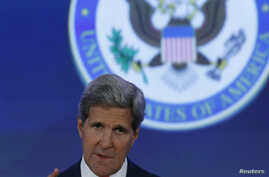 U.S. Secretary of State John Kerry delivers remarks at State Department in Washington, June 16, 2014.