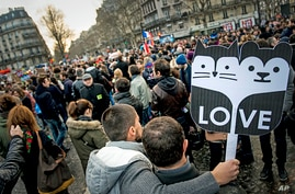 People demonstrate in Paris for the government project to legalize same-sex marriage and adoption for same-sex couples,  Jan. 27, 2013.