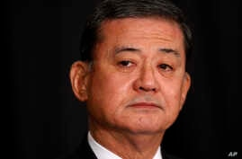 Veterans Affairs Secretary Eric Shinseki is seated before speaking at a meeting of the National Coalition for Homeless Veterans, May 30, 2014, in Washington.