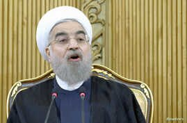 Iranian President Hassan Rouhani speaks after returning from the annual United Nations General Assembly, in Tehran, Iran, Sept. 29, 2015.