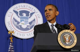 U.S. President Barack Obama speaks about the FY2016 budget at the Department of Homeland Security in Washington, Feb. 2, 2015.