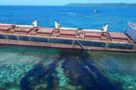 The MV Solomon Trader ran aground Feb. 5, 2019, near Rennell Island in the Solomon Islands. Australian officials say an environmental disaster began to unfold after the ship began leaking heavy fuel oil next to a UNESCO World Heritage site.