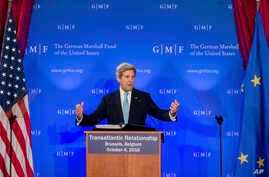 """U.S. Secretary of State John Kerry talks on the future of """"Transatlantic Relations"""" during an event hosted by The German Marshall Fund (GMF) and the U.S. Mission to the EU at Concert Noble in Brussels, Oct. 4, 2016."""
