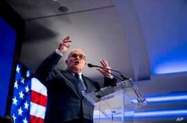 FILE - Rudy Giuliani, an attorney for President Donald Trump, speaks at the Grand Hyatt hotel, May 5, 2018, in Washington. Giuliani recently joined Trump's legal team.