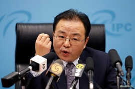 Ouyang Yujing, China's director-general of the Department of Boundary and Ocean Affairs of the Ministry of Foreign Affairs, speaks at a briefing on China's stance on the South China Sea, in Beijing, China, May 6, 2016.