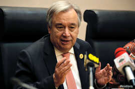 U.N. Secretary-General Antonio Guterres talks to reporters in Addis Ababa, Ethiopia, Jan. 28, 2018. The United Nations announced Feb. 2, 2018, that it would take new steps to protect its staff from sexual harassment in the workplace.