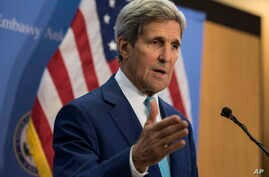 FILE - U.S. Secretary of State John Kerry speaks during a press conference.