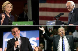 Clockwise, from top left, Democratic presidential candidates Hillary Clinton, in New York, and Bernie Sanders, in Buffalo, and Republican candidates Donald Trump, in Albany, and Ted Cruz, in San Diego, campaign this week.