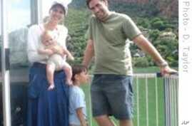 Survivor of postnatal depression, Paula Levin, with her family on a recent holiday trip.