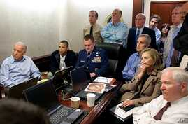 President Barack Obama and Vice President Joe Biden, along with with members of the national security team, receive an update on the mission against Osama bin Laden in the Situation Room of the White House, May 1, 2011. (AP/The White House)