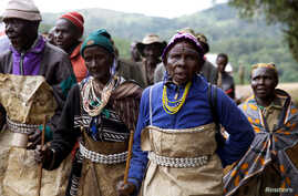 People from the Sengwer community protest over their eviction from their ancestral lands, Embobut Forest, by the government in western Kenya, April 19, 2016.