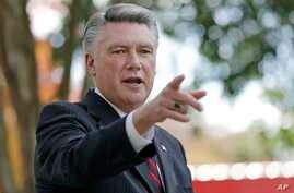 FILE - In this Nov. 7, 2018 photo, Mark Harris speaks to the media during a news conference in Matthews, North Carolina.