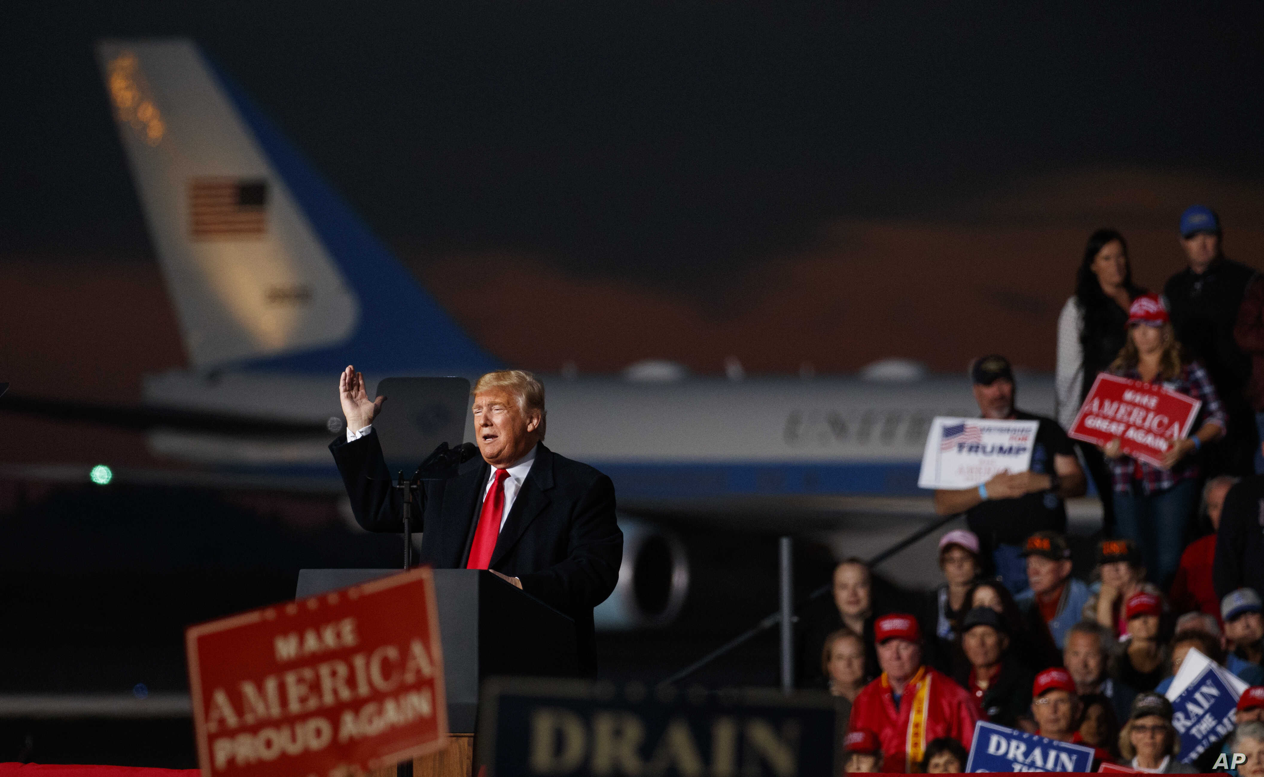 President Donald Trump speaks at a campaign rally at Minuteman Aviation Hangar, Oct. 18, 2018, in Missoula, Mont.