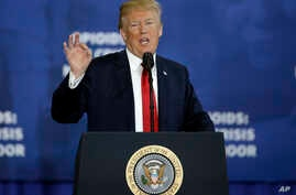 President Donald Trump speaks about his plan to combat opioid drug addiction at Manchester Community College, March 19, 2018, in Manchester, New Hampshire.
