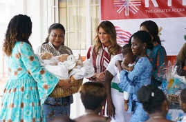First lady Melania Trump visits with mothers and their babies at Greater Accra Regional Hospital in Accra, Ghana, Oct. 2, 2018.