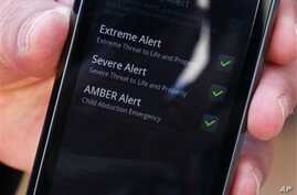 A cell phone enabled to receive emergency notifications, is shown May 10, 2011 in New York.