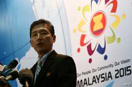 North Korea Foreign Ministry spokesman Ri Tong Il addresses a news conference during the 48th Association of Southeast Asian Nations Foreign Ministers meeting at the Putra World Trade Centre in Kuala Lumpur, August 6, 2015.