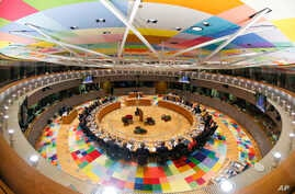 European Union heads of state participate in a round table meeting at the EU summit in Brussels, Dec. 14, 2017.