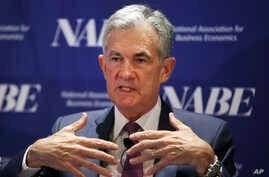 Federal Reserve Chairman Jerome Powell speaks at the annual meeting of the National Association for Business Economics in Boston, Oct. 2, 2018.