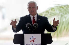 U.S. Vice President Mike Pence speaks during his visit to the Cocoli Locks at the Panama Canal in Panama City, Aug. 17, 2017.