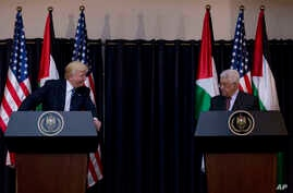 Palestinian president Mahmoud Abbas and President Donald Trump deliver a statement following their meeting in the West Bank city of Bethlehem, May 23, 2017.