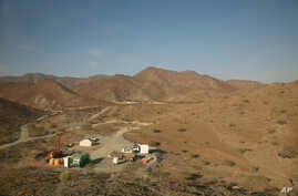 This photo shows a drilling site of the Oman Drilling Project in the al-Hajjar mountains of Oman, March 1, 2017.