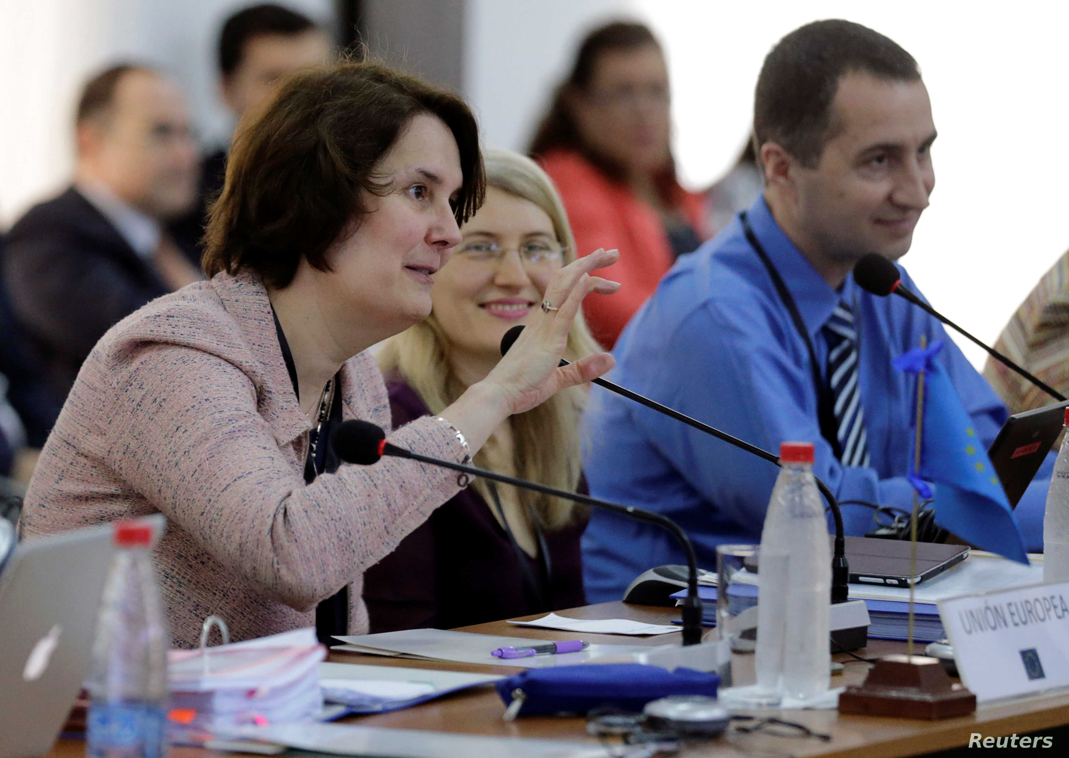 FILE - European Union Chief Negotiator for Mercosur Sandra Gallina gestures during a meeting with negotiators of the Latin American bloc Mercosur to continue discussions on a free trade deal, in Luque, Paraguay, Feb. 21, 2018.