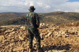 FILE - A Hezbollah fighter looks toward Syria while standing in the fields of the Lebanese border village of Brital, May 9, 2015.