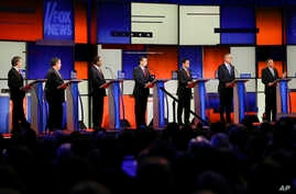 The Republican presidential debate gets underway Thursday at the Iowa Events Center in Des Moines, Iowa, Jan, 28, 2016.