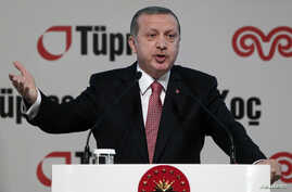 Turkey's President Tayyip Erdogan speaks during the opening of an extension to an oil refinery near Istanbul, Dec. 15, 2014.