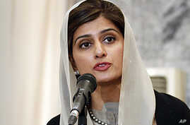 Pakistan Foreign Minister Hina Rabbani Khar speaks during a joint press conference with her Afghan counterpart Zalmai Rasool, unseen, at the foreign ministry in Kabul, Afghanistan, February 1, 2012.