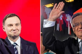 FILES - A combination of pictures shows Andrzej Duda (L), the conservative party PiS (Law and Justice) candidate for President in the Polish election, and challenger incumbent Bronislaw Komorowski (R)