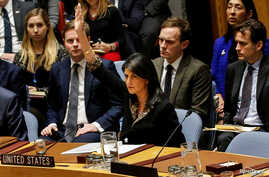 U.S. Ambassador to the United Nations Nikki Haley vetos an Egyptian-drafted resolution regarding recent decisions concerning the status of Jerusalem, during the United Nations Security Council meeting on the situation in the Middle East, including Pa...