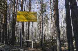 FILE - In this photo taken April 8, 2016, a sign warns people not to enter the town of Ozersk, Chelyabinsk region, Russia, which houses the Mayak nuclear facility. Mayak is a nuclear complex that has been responsible for at least two of the country's