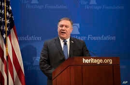 Secretary of State Mike Pompeo speaks at the Heritage Foundation, a conservative public policy think tank, in Washington, May 21, 2018.